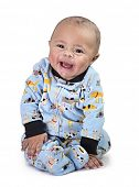 Full length Portrait of smiling black baby boy isolated on black background poster
