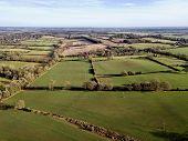 Berkshire UK rural countryside farm fields winter aerial photo poster