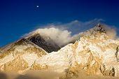 Mt Everest & Nuptse At Sunset