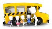 3D Illustration of Kids Being Guided into a School Bus