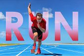 Running inspirational image with the word RUN written in big letters on background for sport and act poster