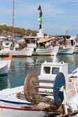 stock photo of nea  - Detail of Greek fishing boat in harbor from Nea Epidavros - JPG