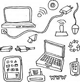 drawing by hand of computers, tablets, printers, cables and network items for technology