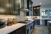 Modern Kitchen With Brown Kitchen Cabinets poster