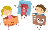 Illustration of Kids Playing with Boxes