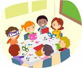 Illustration of Kids Making Paper Crafts