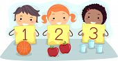 Illustration of Kids Holding Flash Cards with Numbers