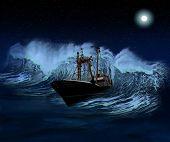 Navio afundando na noite