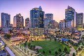 Charlotte, North Carolina, USA uptown skyline and park. poster