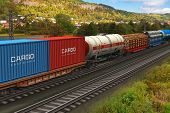Freight train passing by mountain range