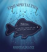 vector blackboard fish menu restaurant water blue background drops sea