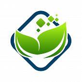 Organic Logo. Leafs In Hand Logo. Natural Products Logo. Cosmetics Icon. Spa Logo. Beauty Salon Logo poster