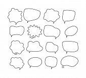Linear Speech Bubbles. Scribe Round Shapes For Comic Magazine Bubble Talk Vector Collection. Illustr poster