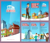 Real Estate Brochure. Printing Banners With Happy Property Buyers Big Buildings And House Rent Servi poster