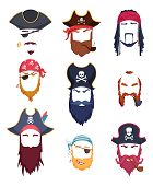 Pirate Masks. Carnival Costumes Element Mustache Hat Beard Hook Hair Vector Creation Kit. Pirate Cos poster