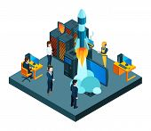 Successful Business Startup. Isometric Vector Young Team, Data Protection, Startup Rocket Vector Con poster