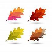 Autumn Leaves Vector Logo With Colorful Styles,oak Leaf With Autumn Color Schemes. Autumn Logo, Autu poster