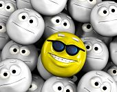 Happy smiling emoticon face among other grey, neutral, indifferent faces