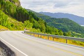 Road Running Through Summer Norwegian Mountains. Beautiful Landscape. National Tourist Ryfylke Route poster