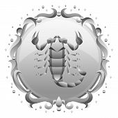 Scorpio Zodiac Sign With Silver Frame. Horoscope Symbol. Stylized Astrological Illustration. poster