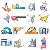 Measuring Instrument Icons Set. Cartoon Set Of 16 Measuring Instrument Vector Icons For Web Isolated poster