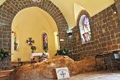 The Church of Primacy - Tabgha. The interior of the church by the Sea Genisaret. Jesus then fed with