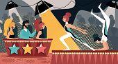 Talent Show Vector Illustration. Cartoon Girls Gymnast Acrobatic Performance. Man Woman In Jury Judg poster