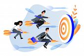 Business Goal Achievement Concept. Vector Flat Cartoon Illustration. Business People Fly On Darts Ar poster