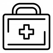 Suitcase With Medicines Icon. Outline Suitcase With Medicines Vector Icon For Web Design Isolated On poster
