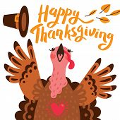 Happy Thanksgiving Card With Turkey. Cartoon Character Turkey poster