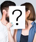 Problem In Couple, Question Mark. Couple Holding Paper Question Mark. Anonymous, Man And Woman Quest poster
