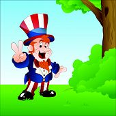 Happy Uncle Sam in Garden