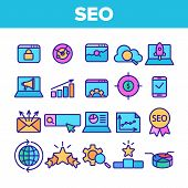 Color Seo Search Engine Optimization Icons Seo Vector Thin Line. Collection Of Different Seo Element poster
