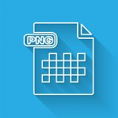 White Line Png File Document. Download Png Button Icon Isolated With Long Shadow. Png File Symbol. V poster