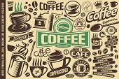 Coffee Vector Set Of Icons, Logos, Emblems, Symbols And Design Elements. Coffee Mugs, Cups, Beans, L poster