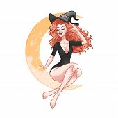 Beautiful Young Witch Woman Sitting On The Moon, Sexy Girl Pin-up, Halloween Costume, Vector Illustr poster