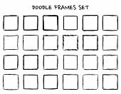 Set Of Hand Drawn Doodle, Hand Drawn Square Frames And Borders. Mono Line Design Templates, Isolated poster