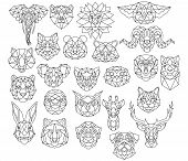 Set Of Polygonal Animal Portraits. Collection Of Geometric Animal Heads. Black White Illustration. L poster