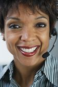 African businesswoman wearing headset
