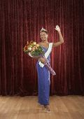 stock photo of beauty pageant  - Beauty queen waving to the audience - JPG