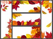 Realistic Autumn Leaves Banners. Yellow Garden Leafage, Flying Leaf And Fall Season Banner Bundle. A poster