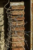 Old Abandoned Telephone Street Circuit Board. Outdated Telephone Technology, Thin Copper Telephone C poster