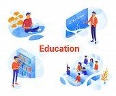 Education Flat Isometric Illustrations Set. University, College Cliparts Pack. Online Courses, E-lea poster
