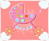 card for baby. vector perambulator for girl