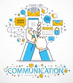 Internet Communication And Activity, Man Hands Holding Phones And Using Apps, Global Network, Modern poster