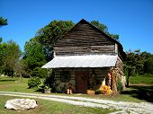 pic of tobacco barn  - Decorated tobacco barn for the Halloween season or fall season.