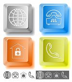Business icon set. Globe, handset, push-button telephone, bank.  Computer keys. Vector illustration.
