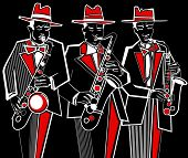 Illustration of three saxophonists on a black background