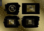 Ink Brush Background Group Set - Abstract Vector Illustration. Four Ink Brush Strokes With Rough Edg poster