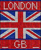 London GB summer holiday or Diamond Jubilee concept. A Union Jack flag made from mosaic tiles.vEPS10